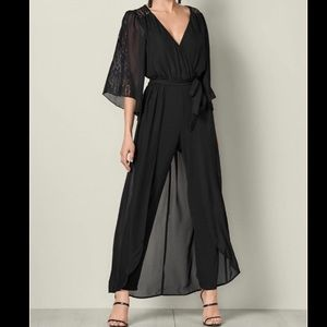 Lace Detail Jumpsuit with Chiffon Overlay